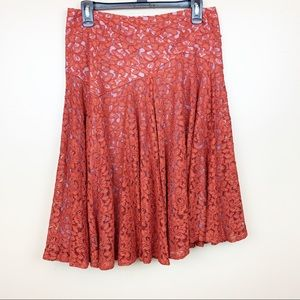 Anthropologie Orange Lace Knee Length Skirt